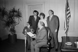 Mayor Daley in an office with a Polio Fund survivor