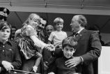 Congressman Frank Annunzio and Mayor Daley with children at the Columbus Day Parade