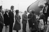 Congressman Frank Annunzio greeting Rosalynn Carter at Air Force One
