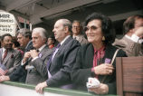 Congressman Frank Annunzio, Jack Valenti with others at the reviewing stand at the Columbus Day...