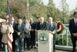 Congressman Frank Annunzio speaking from a Chicago Park District podium