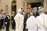 Congressman Frank Annunzio leaving the Shrine of our Lady of Pompeii after a service