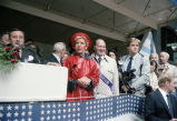 Jane Byrne and Congressman Frank Annunzio on reviewing stand