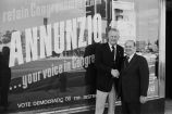 Congressman Frank Annunzio with Harry Semrow in front of campaign office