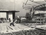 [View of the Enchanted Island exhibit under construction in preparation for the Chicago World's...