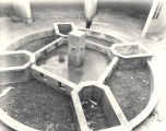 [The base of the Hall of Science fountain as it was nearing completion. This photo was taken in...