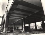 [View from below of one of the elevated halls to the Century of Progress Hall of Science exhibit....