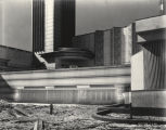 [Exterior view of the Hall of Science building. The photo was taken while the exhibit was under construction