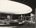 Interior view of the Hall of Science fountain under construction.