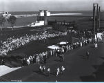 Crowd gathers at the Hall of Science courtyard for Mayor's Day on July 6th, 1932.