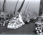 [A Milk Foundation float parading down the Avenue of Flags at A Century of Progress International Exhibition.]