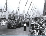 [The American Fence float parading down the Avenue of Flags at A Century of Progress International...