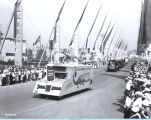 [A Sinclair Motor Oil float parading down the Avenue of Flags at A Century of Progress...