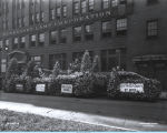 [The Allied Florists Association float getting ready for a parade at the Century of Progress.]
