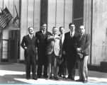 [A delegation of Yugoslavians visits the Century of Progress and meets with fair officials in 1932.]