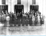 [The Association of Manufacturers of Chilled Car Wheels assemble before the Century of Progress Administration