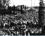 [Crowds gather to celebrate Edison Day at the Enchanted Island exhibit at A Century of Progress.]