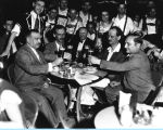 [Century of Progress patrons enjoying beer at the Victor Vienna Garden Café.]