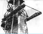 [Construction of the one of the Century of Progress Skyride towers in 1933. At its completion, the...
