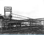 [A view of the Century of Progress Court of States exhibition under construction in 1932. The Court of