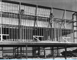 [A view of the Century of Progress Court of States exhibition under construction in 1933. The Court of
