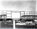 [A view of the Century of Progress Court of States exhibition under construction in 1933. The...