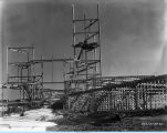 Construction of the Federal Building on Northerly Island adjacent to the Court of States exhibit.