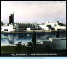 [A view of the Century of Progress Hall of Science from across the lagoon.]