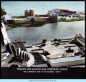 [Panoramic view of the Century of Progress lagoon and Northerly Island.]