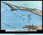 Chicago Plan Commission sketch of the Chicago lakefront and the lagoon where the Fair was to be...