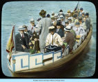 [A ferry transporting passengers across the lagoon at A Century of Progress.]