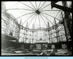 [Interior view of the Travel and Transport Building under construction in preparation for the...