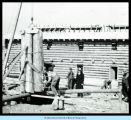 [Construction of Old Fort Dearborn in preparation for A Century of Progress.]
