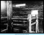 [Inside one of the log cabins at the Old Fort Dearborn exhibit.]