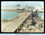 [Artistic depiction of a bridge being constructed across the lagoon in preparation for the Century of