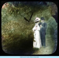 [Unidentified painting of a man and a woman standing in a park.]
