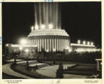 [Ford Building lit up at night at the Century of Progress International Exposition, 1933-1934.