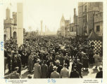 "[Spectators walk through the ""Merrie England"" village at the Century of Progress ""Foreign Villages"" exhibition.]"