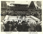 "[Spectators watch ice skating show at the Century of Progress ""Foreign Villages"" exhibition.] [All of"