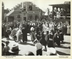 "[Street scene at the Century of Progress ""Dutch Village."" Note the wooden shoes worn by..."