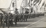 """Part of the 400 policeman who took part in the Chicago Day parade at the World's Fair on..."