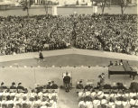 [A large crowd awaits to hear Eleanor Roosevelt, First Lady and wife of U.S. President Franklin...