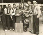 """WLS radio entertainers stage a royal reception for the seventh millionth visitor to the World's Fair,"