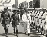 """Governor Dave Sholtz of Florida, shown as he inspected the combined troops of the army, navy, and marine"
