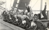 """This group of school-girls from St. Thomas, Ontario, enjoy the thrills of the safety coaster during"