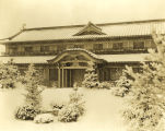"""Japanese Pavilion at the World's Fair in winter. A striking snow scene was taken in the gardens before"