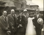 [Fair dignitaries posing with Frank Buck and the Sultan of Johore at the dedication of the 'Bring...