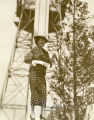 """Gloria Swanson, first Skyride visitor in 1934, wears a broad smile as she gets back to earth after previewing"