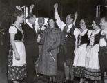 [Revelers in alpine costume at the Century of Progress Swiss Village or the Black Forest Village...