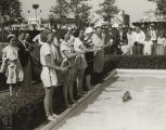 """Bait casting as it should be done is shown by Chief Coller, world's champion trick caster in the pool"